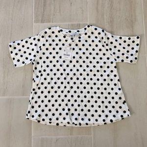 NWT white and black polka dot top from Zara